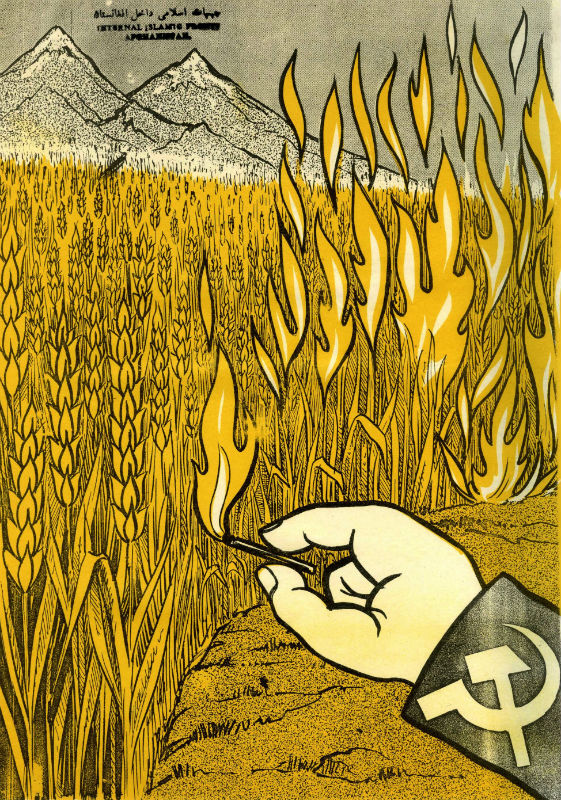 "As  the war continued into the mid 1980s, the Soviets shifted from conventional  warfare to a no-holds-barred counterinsurgency strategy that coupled the  destruction of any village suspected of supporting the rebels with more  frequent raids by special forces. Theirs was a literal interpretation of  ""scorched-earth"" policy, as the above cartoon implies. By 1985 and 1986, the  Soviets had gained control of most of the country, though at enormous expense."