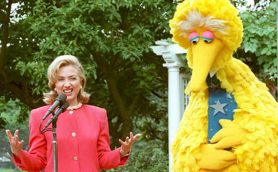 In her long political career, the former first lady and  current secretary of state has made many friends in high places. Above, Clinton speaks with Sesame Street's Big Bird on the benefits of   public broadcasting in the Sculpture Garden at the White House on June   26, 1995. Clinton said that both Democrats and   Republicans should support public broadcasting.