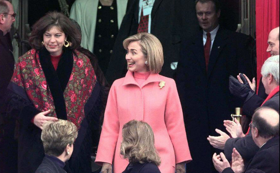Two years later, Clinton dazzled at the podium on Jan. 20 1997, for the swearing-in of Bill Clinton to his second   term as president.