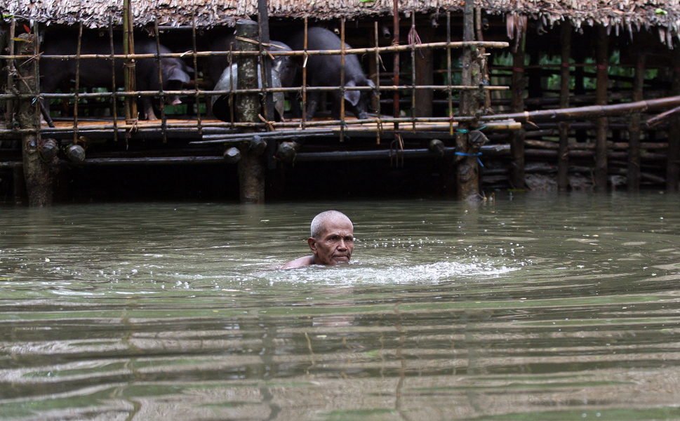 A man swims through floodwater past a partially submerged house at a village outside Pathein, in the Irrawaddy delta region of Myanmar. Recent heavy monsoon rains have left swathes of farmland flooded in many parts of the country. More than 68,000 people fled Myanamar in the wake of the storm.