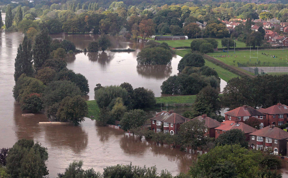 The river Ouse bursts its banks,  causing severe flooding in York, England on Sept. 27. Britain's most severe September storms for 30 years dropped nearly twice the average monthly rainfall on the region, flooding hundreds of homes and  businesses in the historic city of York and causing chaos in much of  northern England.