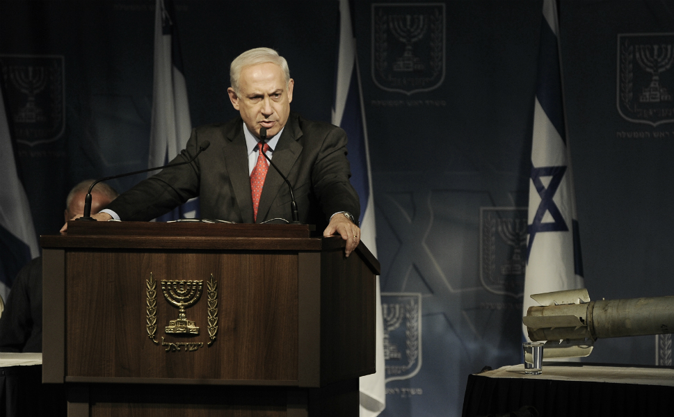Before al-Jabari's assassination, an uneasy calm prevailed  on the border between the Gaza Strip and Israel as Israel's military leaders weighed  their response to rockets fired over the border by Palestinian militants. Above,  Israeli Prime Minister Benjamin Netanyahu addresses foreign ambassadors during  a briefing in the southern city of Ashkelon on Nov. 12.