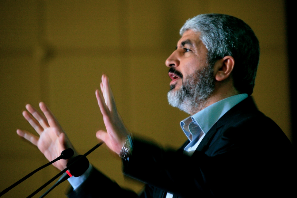 Khaled Meshaal, exiled political chief of Hamas, attends a conference  of Sudanese Islamists in Khartoum on Nov. 15. His visit to Sudan came as Israeli  warplanes pounded Gaza for a second time in Israel's toughest assault on the  Palestinian territory in four years.
