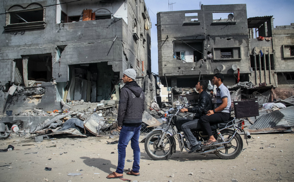 These  were two houses belonging to the Abu Nodeira family. On Nov. 18, they were  notified that their house would be bombed -- all of them evacuated, except one,  who was sleeping and did not get out in time. He was killed. Inside  the house, there was a library that seemed almost perfectly arranged -- there  was barely any effect from the explosion.