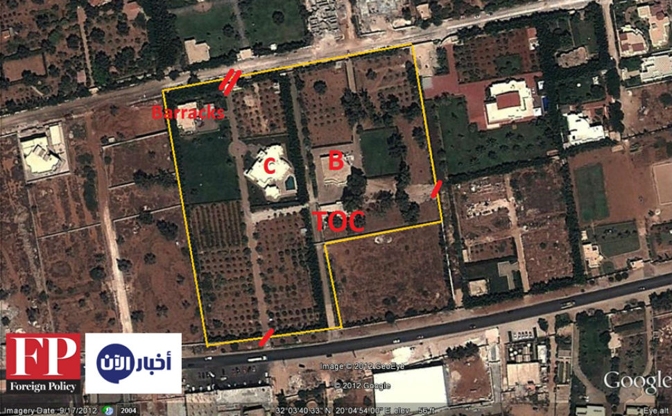 A map of the U.S. consulate compound in Benghazi. The documents were found in the building labeled TOC, which stands for Tactical Operations Center.