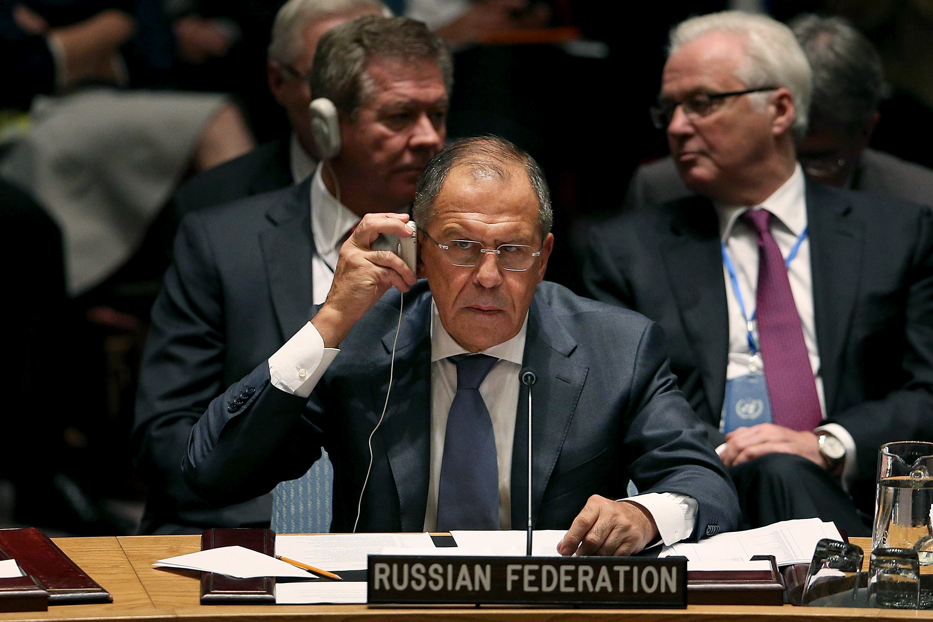 NEW YORK, NY - SEPTEMBER 24: Russian Foreign Minister Sergei Lavrov attends a Security Council meeting on global terrorism during the United Nations General Assembly on September 24, 2014 in New York City. World leaders, activists and protesters have converged on New York City for the annual UN event that brings together the global leaders for a week of meetings and conferences. (Photo by Spencer Platt/Getty Images)