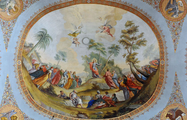Photo by Wolfgang Moroder/Wikimedia Commons/Fresco by Franz Xaver Kirchebner in the parish church of Ortisei, Italy