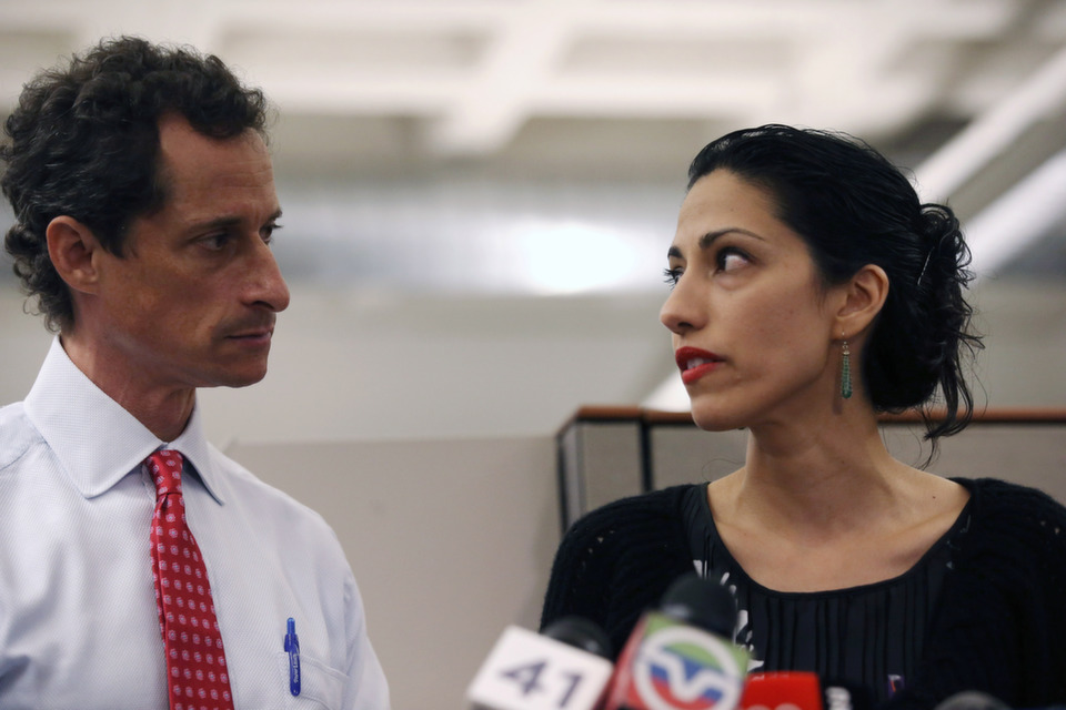 """Huma Abedin, wife  of Anthony Weiner, a leading candidate for New York City mayor, speaks during a  press conference on July 23, 2013 in New York City. Weiner addressed news of  new allegations that he engaged in lewd online conversations with a woman after  he resigned from Congress for similar previous incidents. Read Foreign Policy's list, """"Weiners of the World.""""      Photo by John  Moore/Getty Images"""