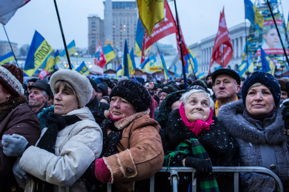 Anti-government protesters rally at Independence Square on  Dec. 7, 2013 in Kiev, Ukraine. Thousands of people have been protesting  against the government since Nov. 21 after Ukrainian president Viktor  Yanukovych suspended a trade and partnership agreement with the European Union  in favor of incentives from Russia. Amid the protests, Askold Krushelnyckyarguedin Foreign Policy that the December  demonstrations were even  bigger than the legendary Orange Revolution of 2004.      Brendan Hoffman/Getty Images