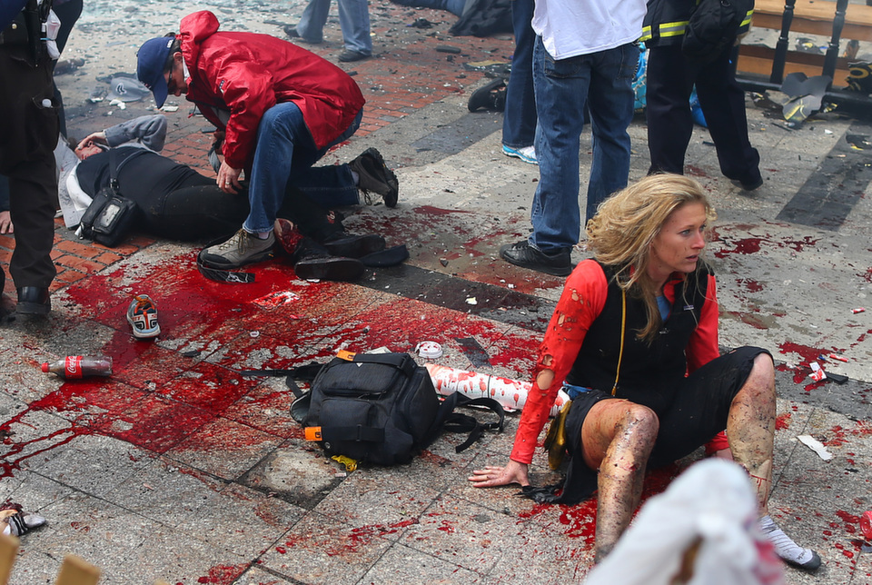 Above, the scene of the first  explosion that went off near the finish line of the Boston Marathon on April 15, 2013. Three people died and more than 260 were wounded when brothers Tamerlan and Dzhokar Tsarnaevset offtwo pressure cooker bombs during the marathon, an event that draws as many as 20,000 participants and 500,000 spectators every year.      John Tlumacki/The Boston Globe via Getty Images