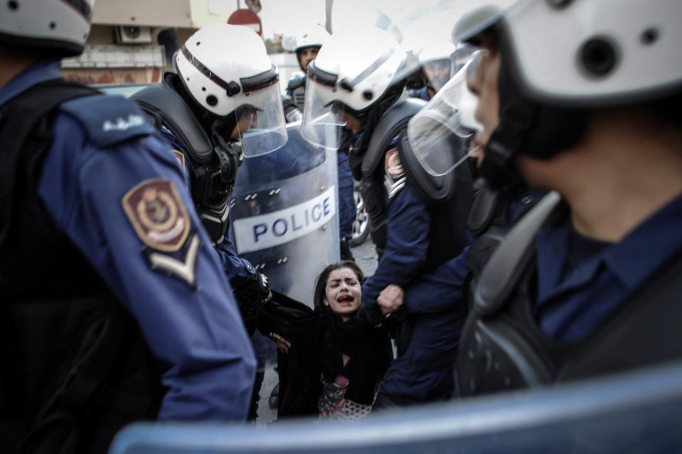 A protestor is  arrested by riot policemen during a demonstration on Jan. 18, 2013 in  Manama. The protest was organized by the February 14 Youth Coalition, an  Internet group that regularly calls for protests in the Shiite-majority  kingdom. Bahrain's government said the demonstration had not been authorized and  warned that security forces would prevent it from going ahead.       MOHAMMED  AL-SHAIKH/AFP/Getty Images