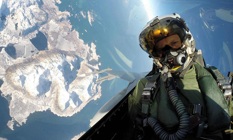 "A Norwegian fighter  pilot takes a selfie in an air ""battle"" during Exercise Cold Response.       Norwegian Air Force"
