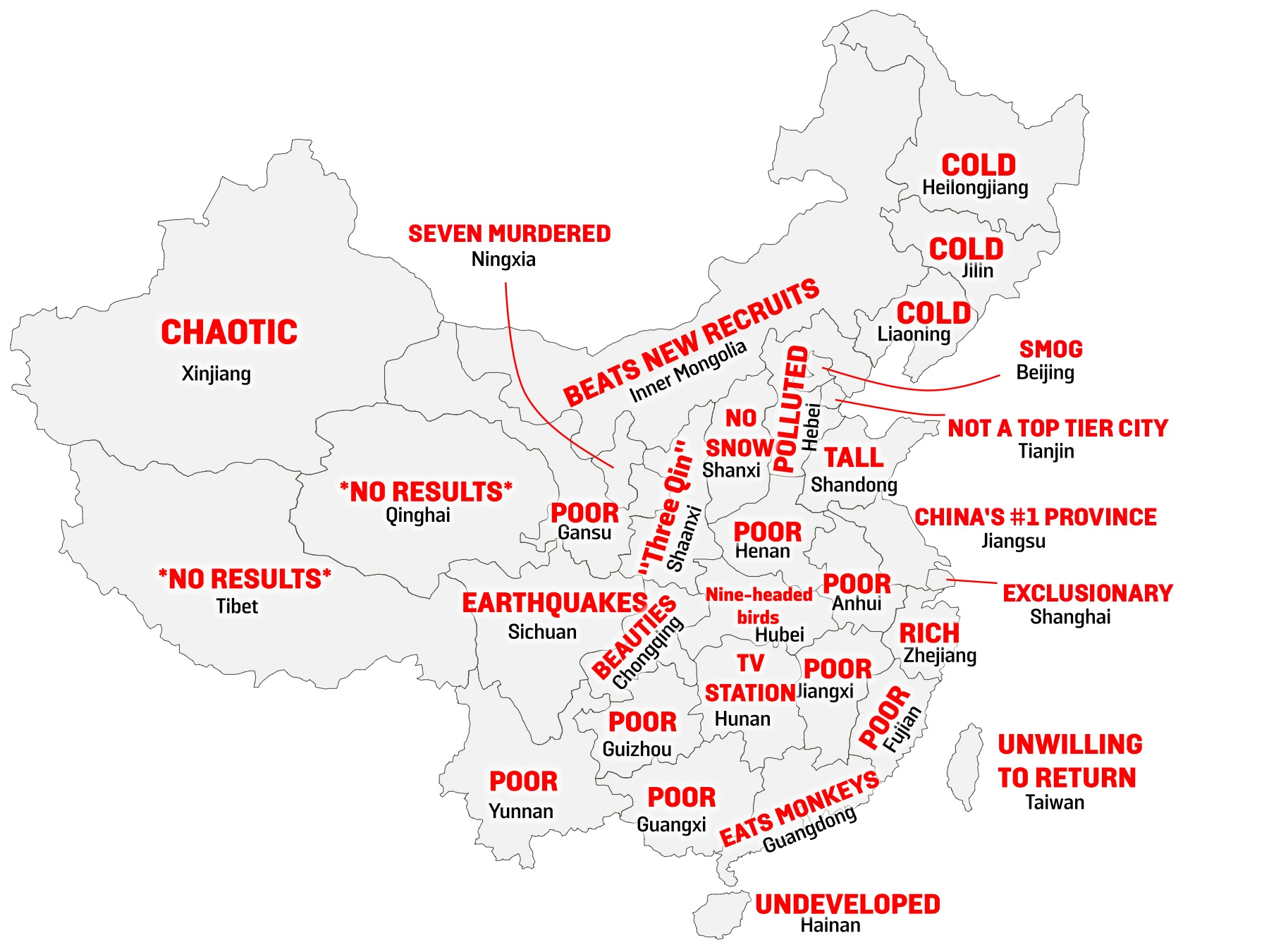A Map of China, By Stereotype – Foreign Policy