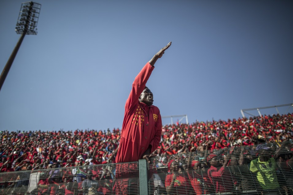 A supporter of South Africa's Economic Freedom Fighters (EFF)  reacts during the final EFF electoral campaign rally in Atteridgeville,  Pretoria, on May 4. South Africans went to the polls on May 7 to elect provincial  leaders and legislators. The lawmakers will then elect a president from the  party which garners the most number of votes.       MARCO LONGARI/AFP/Getty Images