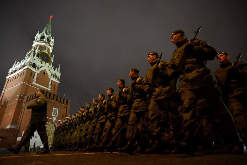 Russian soldiers march during a rehearsal of the Victory Day  Parade in Moscow on May 5. The parade took place on the Red Square in Moscow on  May 9 to commemorate the 1945 defeat of Nazi Germany.       KIRILL KUDRYAVTSEV/AFP/Getty Images