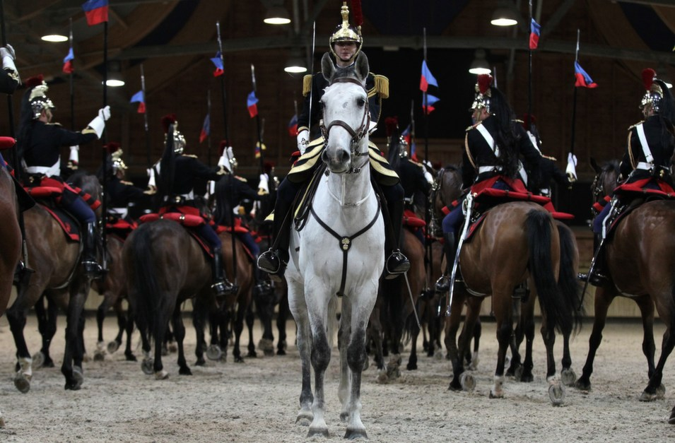 French Republican guards take part in a show in Deauville,  France, on May 3.      CHARLY TRIBALLEAU/AFP/Getty Images