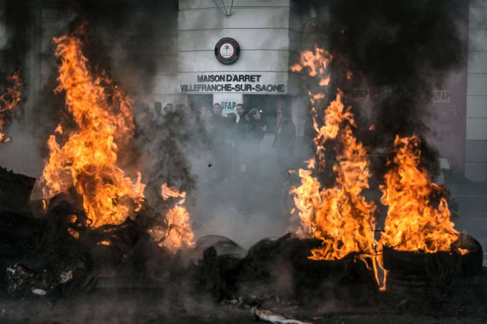 Prison staff protest judicial reforms, overcrowding, and lack  of psychiatric care for detainees, during a demonstration held outside the  Villefranche-sur-Saone prison in France on May 6.      JEFF PACHOUD/AFP/Getty Images
