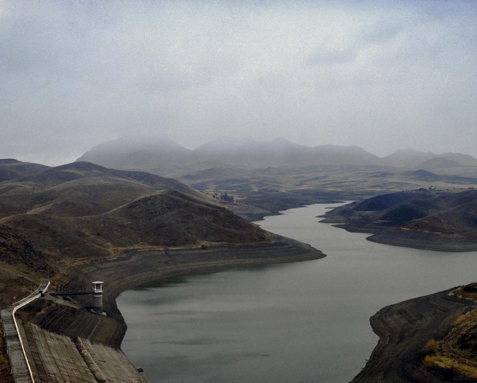 The Papan Reservoir, built in 1985, is intended to irrigate farmland in southern Kyrgyzstan and eastern Uzbekistan.      Fyodor Savintsev/Salt Images, 2013