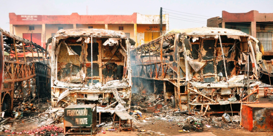 17. Nigeria, 99.7         In 2014, Nigeria -- the most populous country in Africa with a population of approximately 177 million -- surpassed South Africa to become the continent's largest economy. However, despite these gains, Nigeria continues to reel from the Islamist insurgency in its northeast, where President Goodluck Jonathan has declared a state of emergency. Boko Haram, the militant organization behind the unrest, may be dominating global headlines in 2014 with the kidnapping of over 200 young schoolgirls, but the group was destabilizing Nigeria well before #BringBackOurGirls. During one particularly grisly Boko Haram attack on a secondary school in Yobe state in July 2013, 42 people were killed, most of them students.      Above, burnt buses lie at a bus station in Kano, on Mar. 19, 2013, after a suicide bombing there killed at least 22 people and injured 65 others.      Aminu Abubakar/AFP/Getty Image