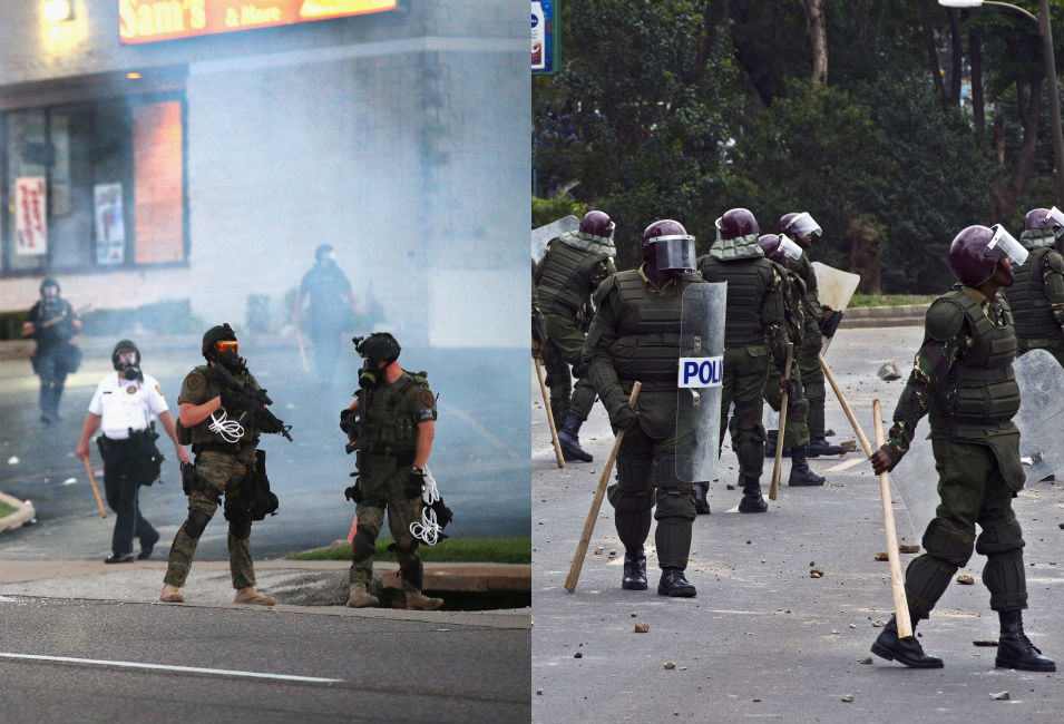 Left: Tear gas hangs in the air as police attempt  to force protestors to leave downtown Ferguson on Aug. 11. The day before, some  protesters had burned down and looted buildings.       Right: Kenyan riot police chase student  protesters outside Nairobi University on May 20. Some of the students,  who were demonstrating  against a controversial fee increase, threw  rocks at the police.
