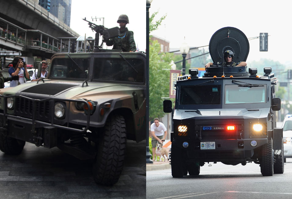 Left: A Thai soldier with a machine gun secures  the area outside a shopping mall in Bangkok  where protesters gather for a demonstration against the May 22 military coup.  Most of the anti-coup protests have been peaceful.      Right: A Missouri State Highway Patrol tactical  vehicle travels down a central road in Ferguson as police try to break up  protests against police violence.