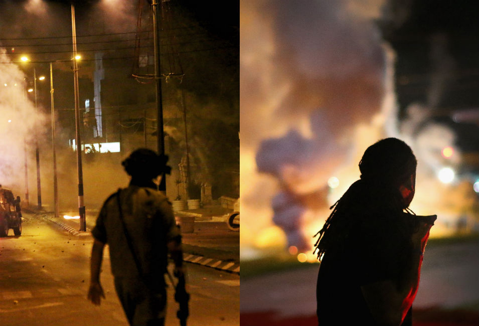 Left: An Israeli soldier looks on as an army  truck speeds into the streets of Bethlehem, firing volleys of tear gas into  Palestinian youth protesting the bombing of Gaza on July 23. Two protesters  were killed  by Israeli forces in the West Bank town of Husan the same  day.      Right: A demonstrator in Ferguson looks on  as tear gas fills a street on Aug. 13, the fourth day of protests in the  Missouri town.