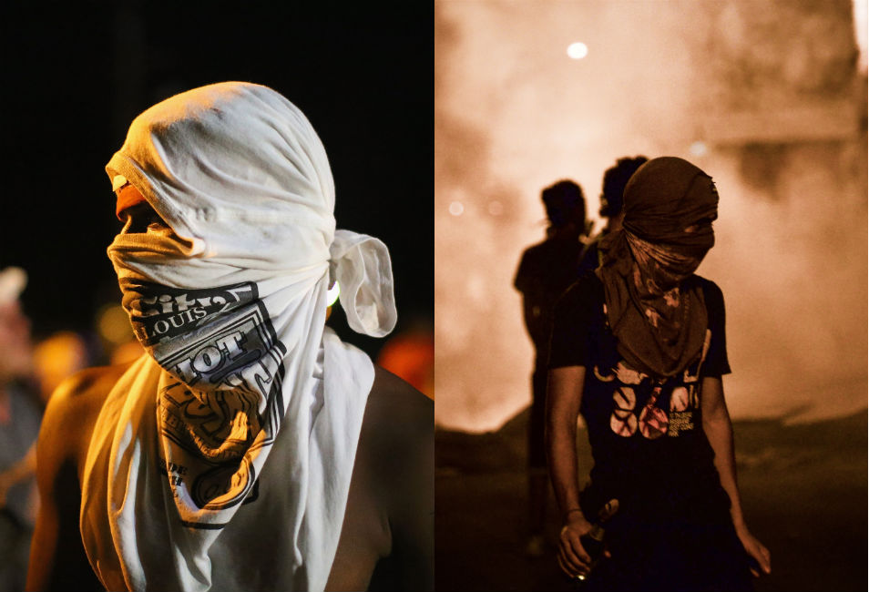 """In the days since Michael Brown, an 18-year-old African  American man, was shot by a police officer in Ferguson, Missouri, the town of 21,000  people located just north of St. Louis has devolved into an increasingly tense  confrontation between protesters and its strikingly militarized police force. Photos  and footage from the scene show local police  officers fully outfitted with body armor and tactical weapons -- scoped, short-barreled  5.56-mm rifles, accurate up to 500 meters  -- modeled after the M4 carbine used by U.S.  soldiers in Iraq. This police force, joined by officers from upwards  of 15  other departments, has patroled the streets of Ferguson in military  vehicles, arrested  journalists and one local  politician, and fired teargas and rubber bullets at mostly peaceful  protesters. On Thursday night, hundreds  of protesters marched through the streets -- some 75 people have reportedly been  arrested since Saturday, when Brown was killed.  As of Aug. 12, the FAA has listed the skies above the town as restricted  airspace.      Today, speaking from his vacation on Martha's Vineyard, Mass.,  President Barack Obama called  for calm, saying, """"Now's the time for peace ... on the streets of  Ferguson,"""" adding, """"Police should not be bullying or arresting  journalists who are just trying to do their jobs.""""       But for the moment, Ferguson, Mo., looks more like Kiev's  Maidan, the street fights of Bahrain, or the clashes of Cairo's Tahrir Square  than small-town America. In fact, at a glance, it's pretty difficult to spot the difference between the  warzone atmosphere on the streets of Ferguson, and the crackdowns and clashes  that have erupted in some of the most volatile and repressive countries in the  world.      Left: A young man in Ferguson, Mo. at a protest  against the murder of 18-year-old Michael Brown by police. On Aug. 14, the  protests entered their fourth day.      Right: A protester in the village of Diraz, Bahrain, holds a Molotov  cocktail dur"""