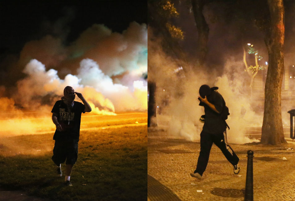 Left: A protester in Ferguson runs from tear  gas shot by the police. The Ferguson police have been accused of using excessive  force in dealing with the protests, which, at times, have been violent.       Right: A mostly peaceful protest in Rio de  Janeiro on Oct. 15, 2013, by Brazilian  teachers demanding better public education  turned violent when a small group clashed with police, who responded with tear  gas.