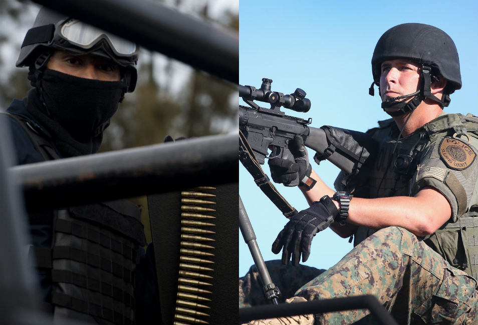 Left: A Mexican federal policeman stands  guard with a machine gun as the attorney general's office presents Juan Manuel  Rodriguez Garcia, an alleged leader of a major drug cartel, to the press.  Mexico's government has waged a multi-year armed campaign to try to rein in the cartels.      Right: A police officer seated behind a  mounted gun watches over protesters in Ferguson. The Ferguson Police Department  has purchased  surplus equipment from the U.S. military.