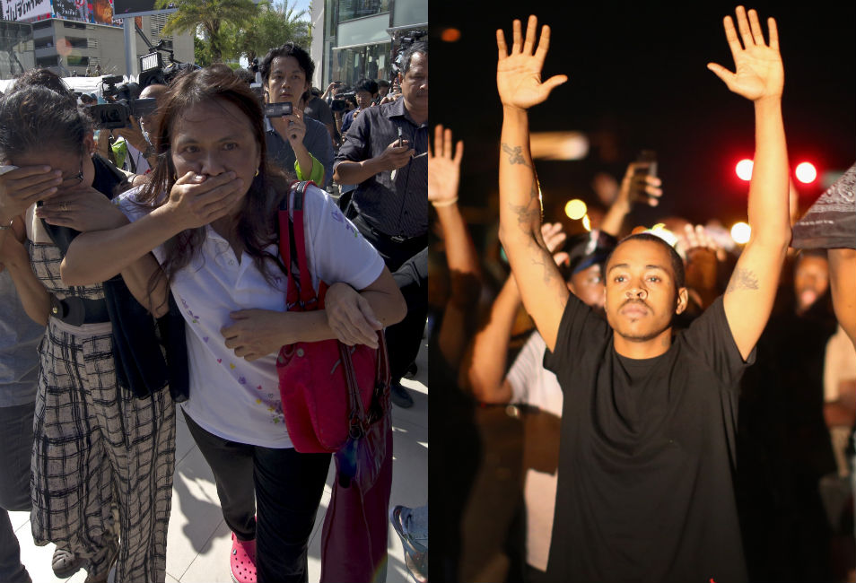 """Left: Opponents of Thailand's May 22 military  coup cover their mouths during a demonstration. The Thai protesters have organized  peaceful  """"flashmob"""" protests protests in Bangkok and other  locations to voice objection to the army's banning of political assemblies.      Right: In Ferguson, protesters hold  up their hands and chant, """"Hands up, don't shoot!""""  They say that Brown, who was unarmed, was holding his hands up when a police  officer shot and killed him."""