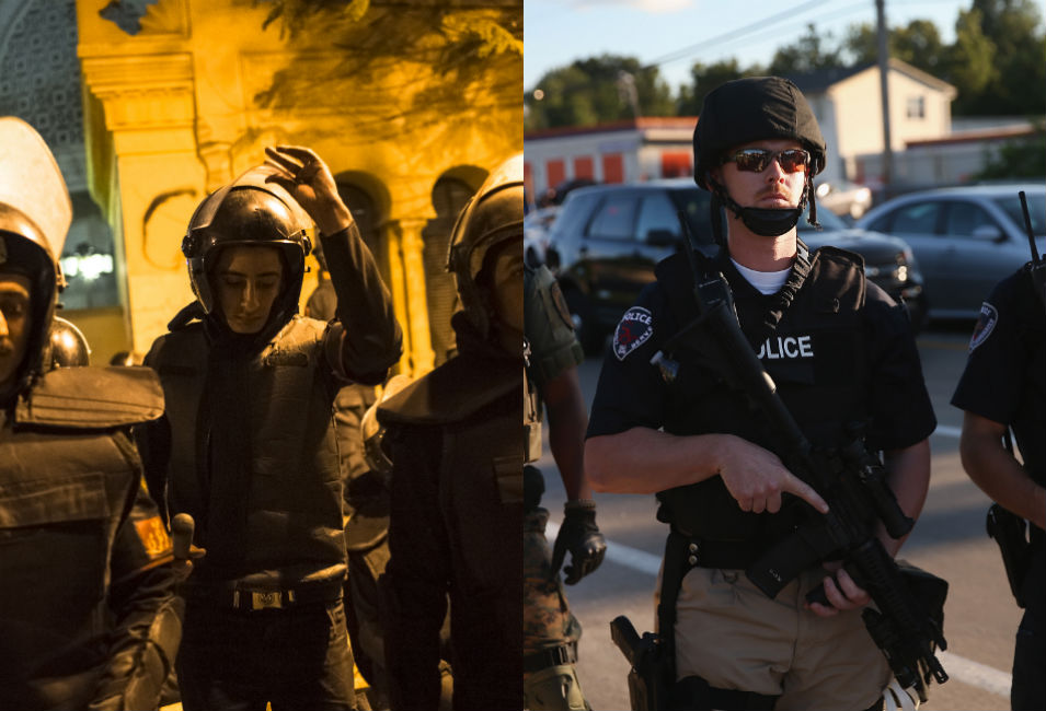 Left: In Cairo, Egyptian police dressed in  riot gear stand outside the Presidential Palace as opponents of then-President  Mohammed Morsi demonstrate  against his proposed constitution on Dec. 18,  2012.      Right: Police officers block a street in Ferguson as protesters  march through the 20,000-person town on Aug. 12.