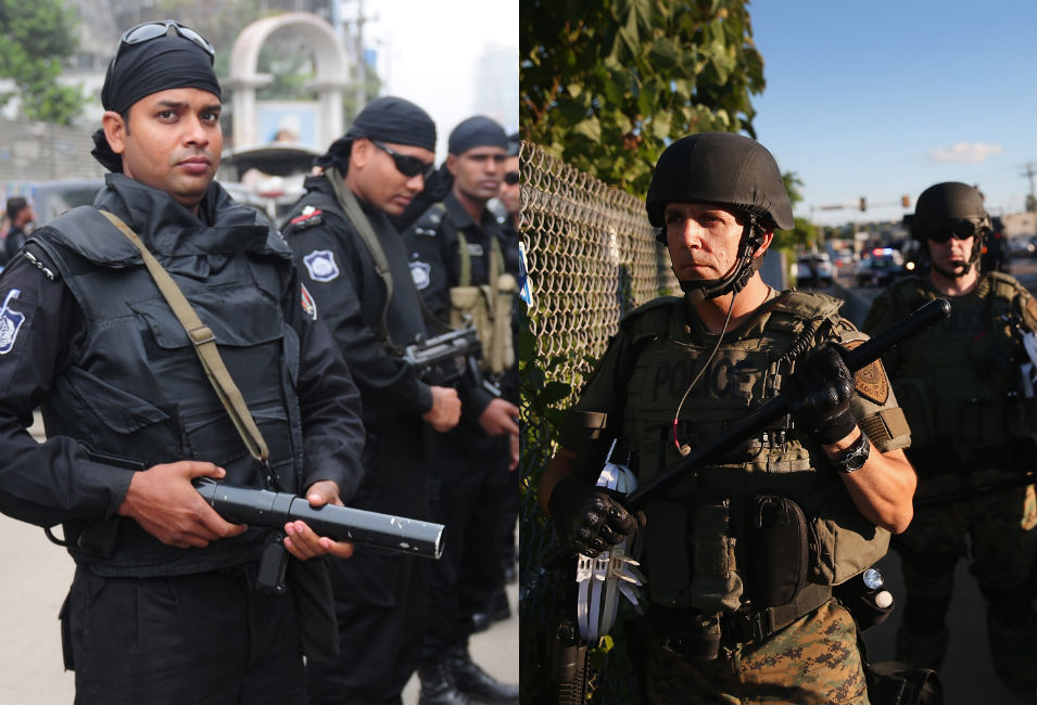 Left: Members of Bangladesh's Rapid Action Battalion watch over  protests in Dhaka during a nationwide strike on Feb. 18, 2013, in  response to a leading Islamist being sentenced to life in prison.       Right: On the second day of protests in Ferguson against Michael  Brown's murder, police take up positions against gathering demonstrators.