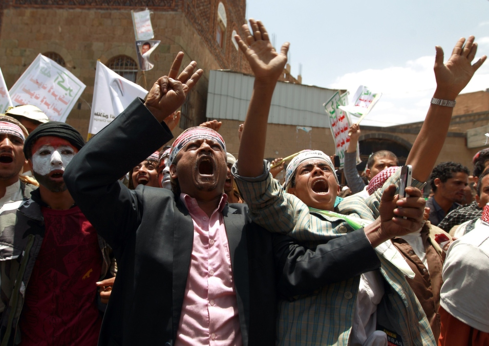 Supporters of the Shiite Houthi movement shout slogans during an anti-government demonstration in Sanaa, Yemen, on Sept. 3.       Mohammed Huwais/AFP/Getty Images