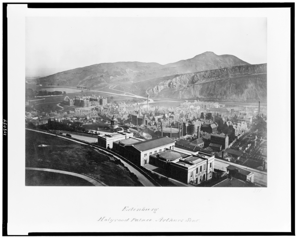 A late nineteenth-century view of Edinburgh's Palace of Holyroodhouse (background left), the official residence of the British monarch in Scotland, where the Queen spends a week each year.      Library of Congress