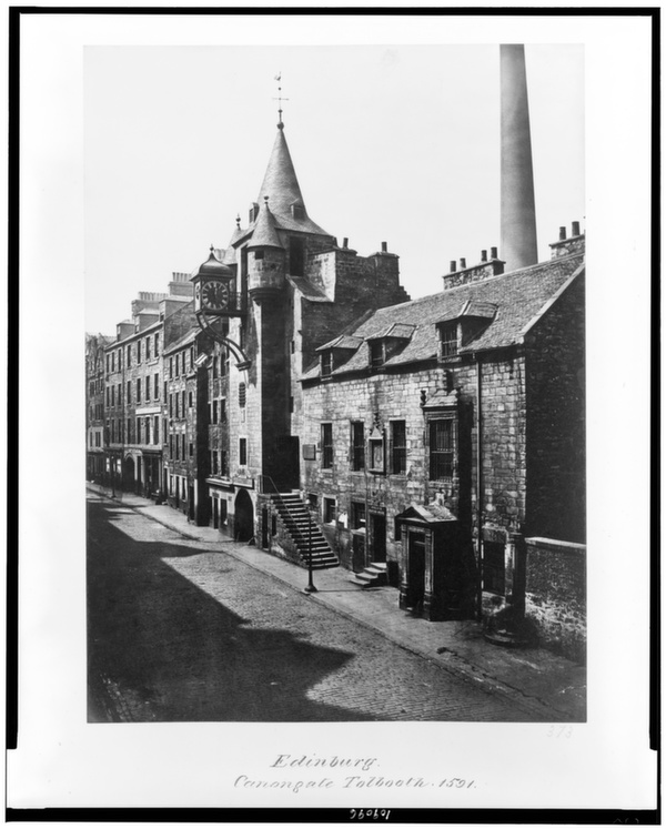Edinburgh's Canongate Tolbooth, built in 1591, is shown here in a late 19th-century photograph.      Library of Congress