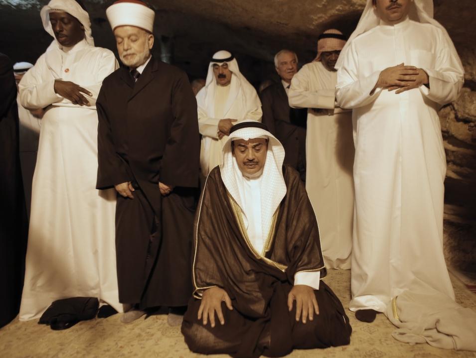 Kuwaiti Foreign Minister Sheikh Sabah al-Khaled al-Sabah (center) prays next to Grand Mufti of Jerusalem, Mohammed Hussein (second left) inside Jerusalem's Dome of the Rock, Sept. 14.       Ahmad Gharabli/AFP/Getty Images