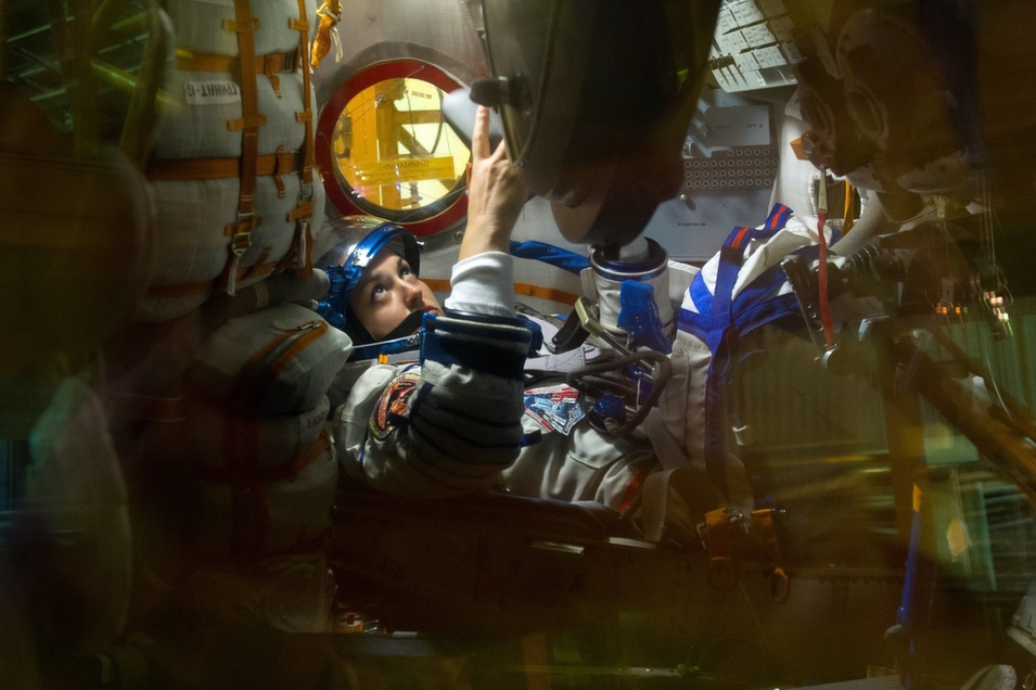 A Russian cosmonaut attends preflight training at Kazakhstan's Baikonur Cosmodrome, Sept. 13. Her crew is to take off from Baikonur to the International Space Station on Sept. 26.      -/AFP/Getty Images
