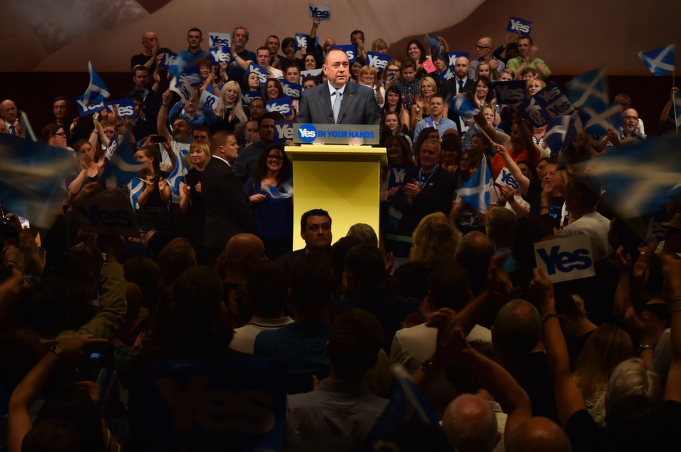 Scotland's First Minister Alex Salmond gives a speech to supporters in Perth, north of Edinburgh, Scotland, Sept. 17, ahead of the country's Sept. 18 independence referendum. FP's Christian Caryl reported from Scotland on the day of the vote.       Ben Stansall/AFP/Getty Images