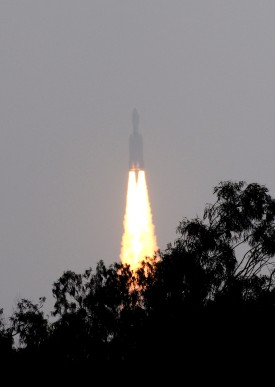 In this photograph taken early December 18, 2014, The Geostationary Satellite Launch Vehicle (GSLV) Mk-III rocket lifts off from The Satish Dhawan Space Centre on Sriharikota Island, some 80kms north of Chennai.  India successfully launched its biggest ever rocket, including an unmanned capsule which could one day send astronauts into space, as the country ramps up its ambitious space programme. The rocket, designed to carry heavier communication and other satellites into higher orbit, blasted off from Sriharikota in the south-eastern state of Andhra Pradesh. AFP PHOTO/STR        (Photo credit should read STRDEL/AFP/Getty Images)