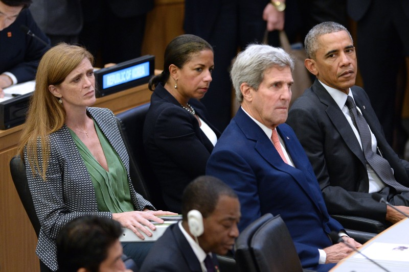 NEW YORK, NY - SEPTEMBER 25:  (AFP OUT) (L-R) United States Ambassador to the United Nations Samantha Power, U.S National Security Advisor Susan E. Rice, U.S. Secretary of State John Kerry and U.S. President Barack Obama sit before Obama gives remarks at a special high-level meeting regarding the Ebola virus outbreak in West Africa during the 69th United Nations General Assembly on September 25, 2014 in New York City. The UN General Assembly brings together political leaders from around the world to report on issues and discuss solutions.  (Photo by Anthony Behar-Pool/Getty Images)