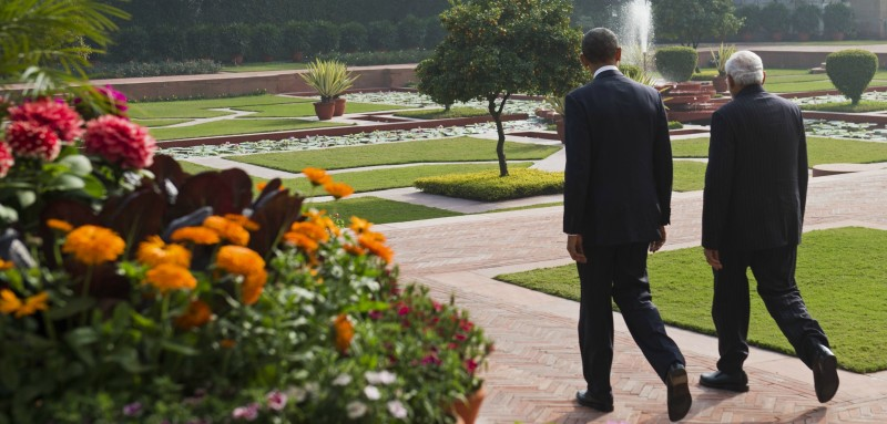 :Indian Prime Minister Narendra Modi (R) and US President Barack Obama walk through the gardens between meetings at Hyderabad House in New Delhi on January 25, 2015 (SAUL LOEB/AFP/Getty Images).