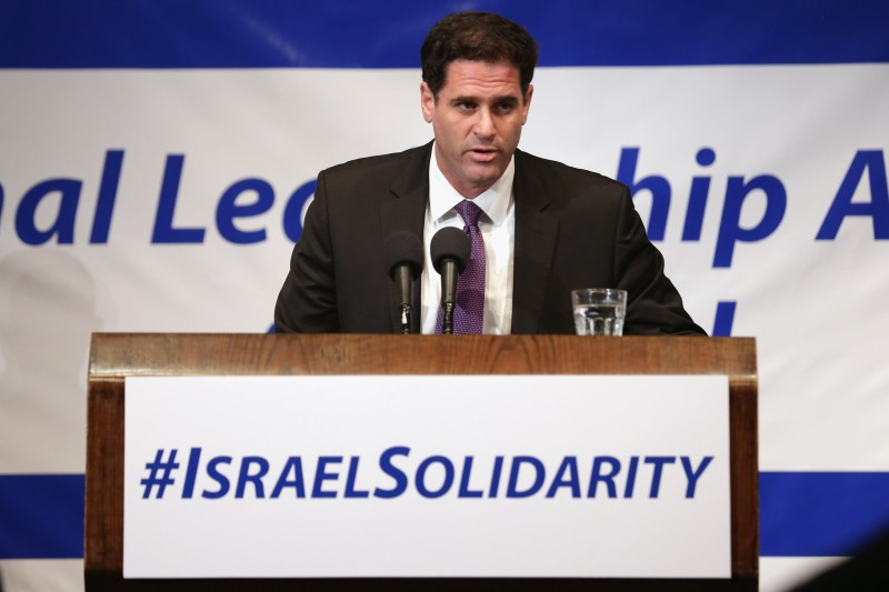 WASHINGTON, DC - JULY 28:  Israeli Ambassador to the United States Ron Dermer addresses Jewish organizational and community leaders during the 'National Leadership Assembly for Israel' at the National Press Club July 28, 2014 in Washington, DC. Organized by the Conference of Presidents of Major American Jewish Organizations, the event was addressed by Obama Administration officials and both Republican and Democratic members of Congress who attended the rally as a 'show of solidarity with the people and state of Israel.' Despite international calls for a ceasefire, Israel and Hamas continue to battle in and around the Gaza Strip, where 1,000 people have been killed since the violence started 21 days ago.  (Photo by Chip Somodevilla/Getty Images)