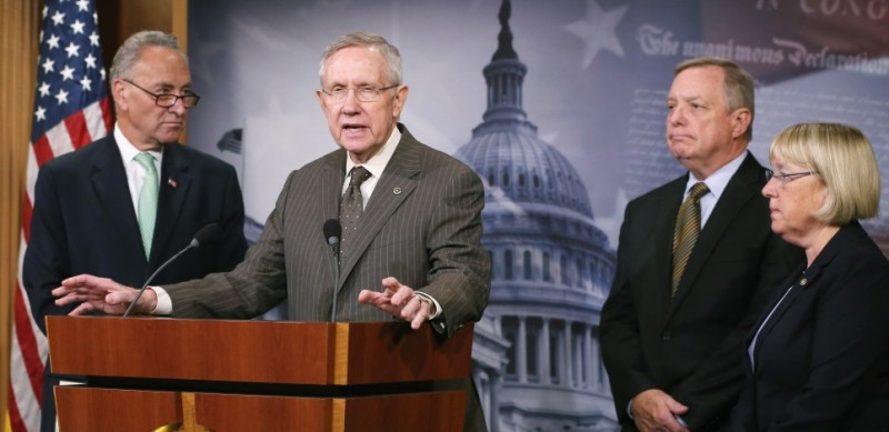 WASHINGTON, DC - SEPTEMBER 11:  Senate Majority Leader Harry Reid (D-NV) (2ndL), speaks to the media while flanked by Sen. U.S. Sen. Chuck Schumer (R-NY) (L), Sen. U.S. Sen. Dick Durbin (D-IL) (2ndR) and Sen. U.S. Sen. Patty Murray (D-WA) (R), during a news conference on Capitol Hill, September 11, 2014 in Washington, DC. Leader Reid talked about President Obamas address to the nation last night regarding his plan against the terrorist group ISIS.  (Photo by Mark Wilson/Getty Images)