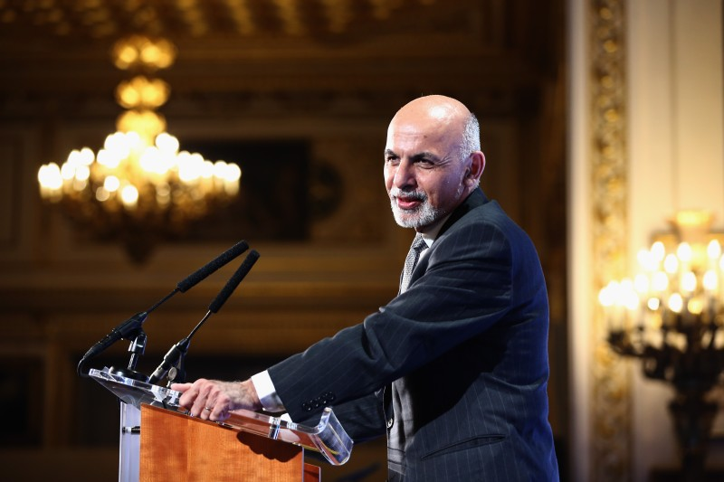 LONDON, ENGLAND - DECEMBER 04:  Afghanistan's President Ashraf Ghani speaks to delegates and ministers during the London Conference on Afghanistan in central London on December 4, 2014 in London, England. Afghanistan's new leaders are hopeing to build bridges with the West at a conference in London as they struggle to bring peace while foreign combat forces withdraw after 13 years in the country.  (Photo by Dan Kitwood - Pool/Getty Images)