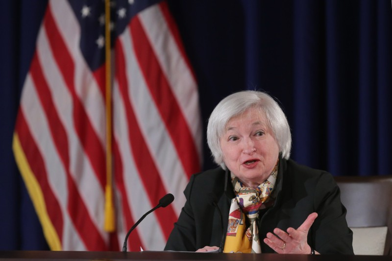 """WASHINGTON, DC - MARCH 18:  Federal Reserve Bank Chair Janet Yellen holds a news conference following a meeting of the Federal Open Market Committee at the Fed headquarters March 18, 2015 in Washington, DC. Yellen said the Fed would consider raising its benchmark interest rate at its June meeting and warned, """"Just because we removed the word 'patient' doesn't mean we're going to be impatient.""""  (Photo by Chip Somodevilla/Getty Images)"""