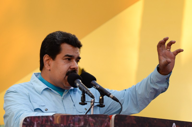 Venezuelan President Nicolas Maduro delivers a speech before supporters gathering outside the presidential palace in Caracas on March 18, 2015. Leaders from leftist Latin American regional bloc ALBA gathered Tuesday for a summit in Caracas, a show of support for Venezuela in its mounting standoff with the United States. AFP PHOTO/FEDERICO PARRA        (Photo credit should read FEDERICO PARRA/AFP/Getty Images)