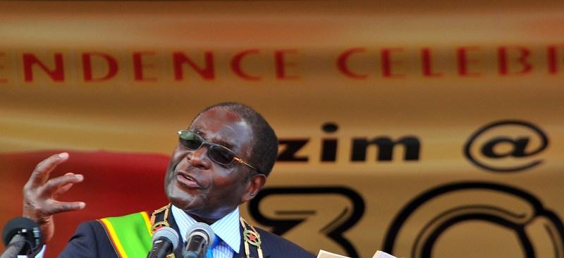 Zimbabwean President Robert Mugabe addre