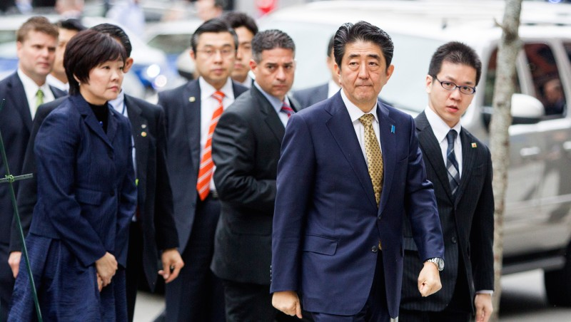 Japanese Prime Minister Abe Pays Respects At Site Of Boston Marathon Bombing