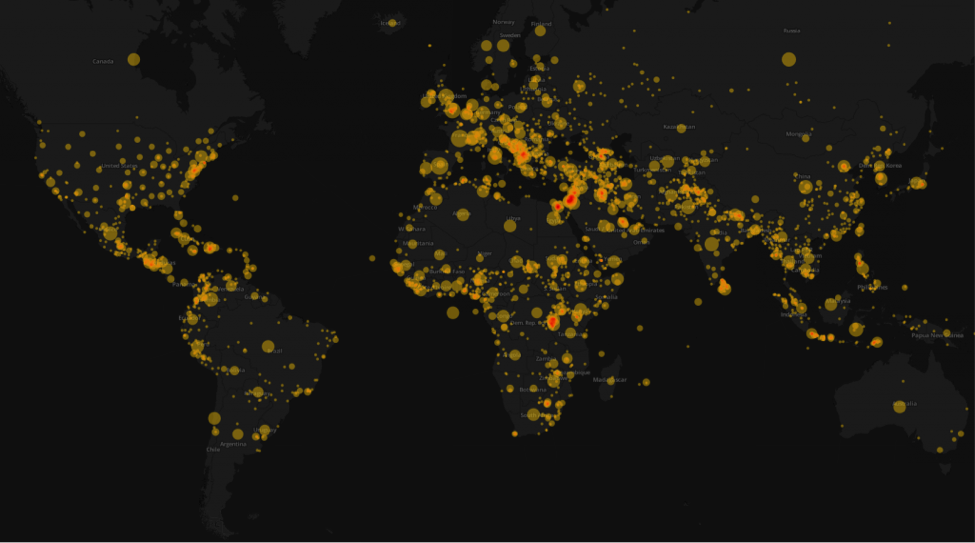 """Figure 3 – Map of locations mentioned in Amnesty International Reports, Press Materials, Urgent Actions, Event, and """"Other"""" documents published 1960-2014."""