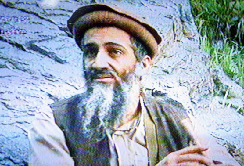 AMMAN, JORDAN - SEPTEMBER 10:  This is a still image taken from a video tape aired on Al-Jazeerah station September 10, 2003 that shows Al-Qaeda leader Osama Bin Laden in an unspecified location. The video tape, the first video image of bin Laden in about two years, was aired on the eve of the second anniversary of the September 11 attacks.  (Photo by Salah Malkawi/Getty Images)